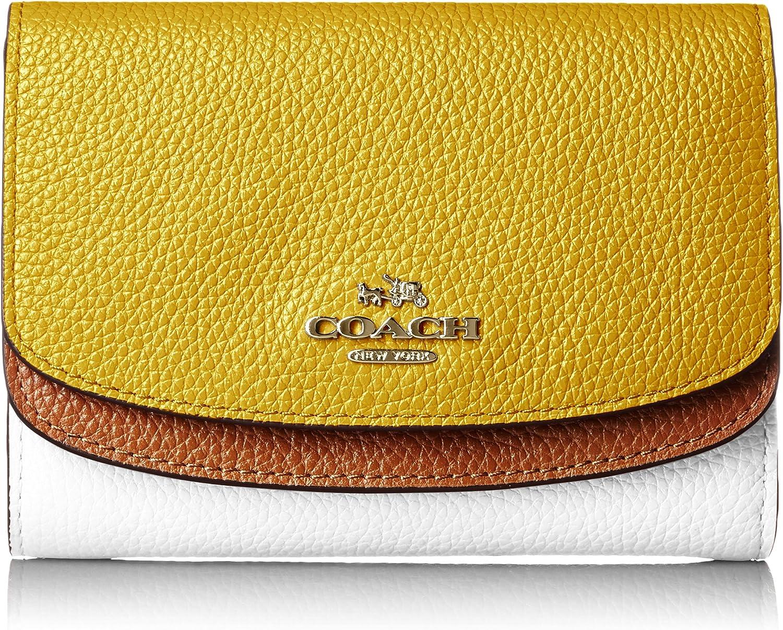 COACH Color Block Double Flap Medium Wallet SV/Canary Multi Wallet Handbags