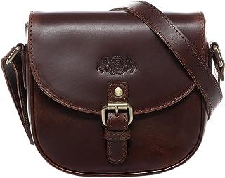 SID & VAIN Umhängetasche echt Leder June klein Schultertasche Handtasche mit Schultergurt Ledertasche Damen braun