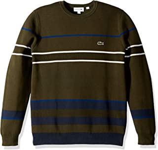 4703f74e323f Lacoste Men s Long Sleeve Striped Colorblock Crewneck