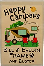 Happy Campers Personalized 5th Wheel Campsite Sign, Garden Flag, Customize Your Way, Flag Only (Gold/Black)