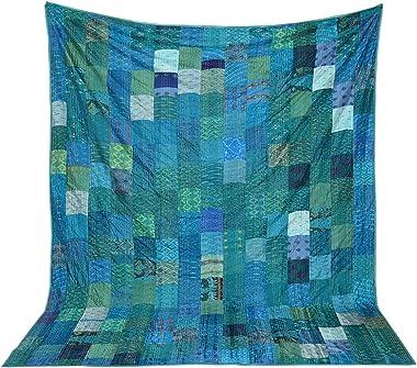 Crafts Creation Patola Silk Patch Kantha Quilt, Kantha Blanket Bedspread, Patch Kantha Throw, Queen Kantha, Kantha Rallies In