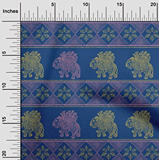 oneOone Cotton Poplin Fabric Floral & Elephant Block Printed Fabric 1 Meter 42 Inch Wide