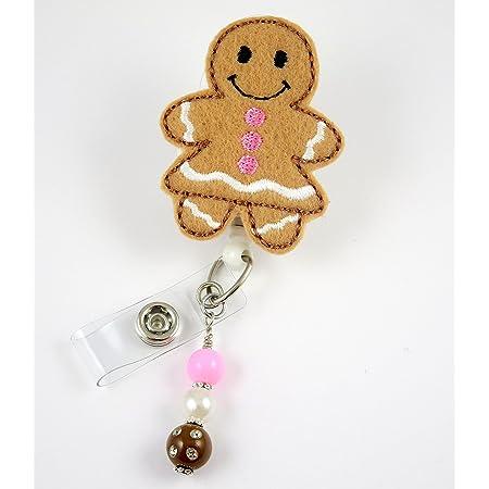 cute nurse badge reel festive badge reel badge reel christmas badge reel gingerbread badge reel holiday badge reel nurse badge holder