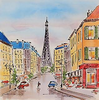 Angie Decoration Boulevard París Cuadro, Acrílico, Multicolor, 70 x 70 cm