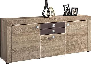 Mueble Aparador 3 Puertas + 2 cajones Buffet para Cocina y Comedor Modelo Julieta Acabado en Color Cambria y Chocolate...