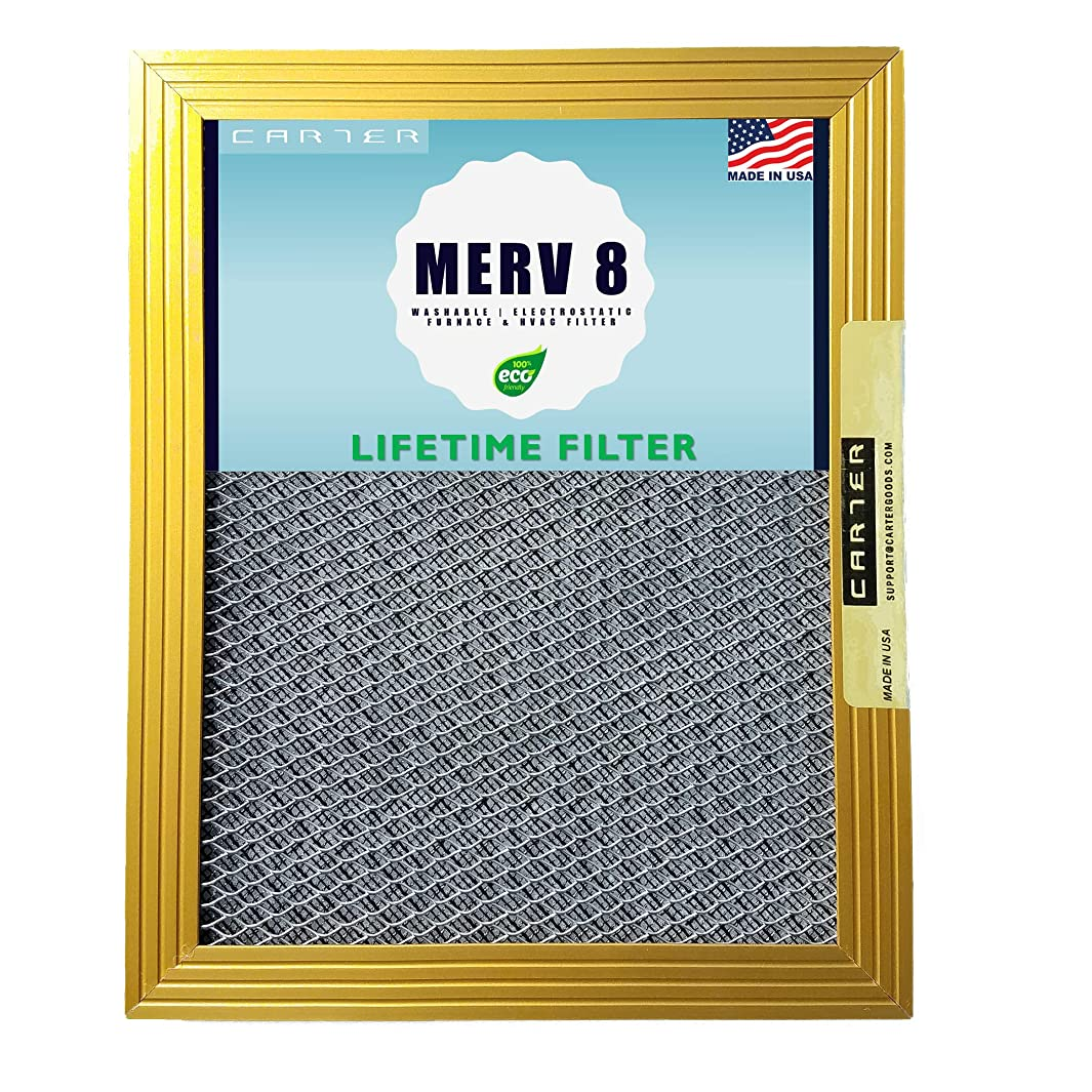 16x20x1 CARTER | MERV 8 | Lifetime HVAC & Furnace Air Filter | Washable Electrostatic | High Dust Holding Capacity | Never buy another filter