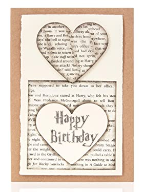 Happy Birthday Card, Made From Harry Potter Book Pages, Handmade Book Lovers Gift, Size 5x7 Inches, Perfect For Your Harry Potter Loving Wife, Husband, Boyfriend, Girlfriend, Brother, Sister, Mom, Dad