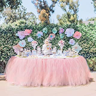 Tulle Table Skirt Tutu Table Skirts Wedding Tablecloth Birthday Baby Shower Party Table Skirting Table Decorations for Round Or Rectangle Tables 9ft (Pink, 9ft (L) x 30inch (H))
