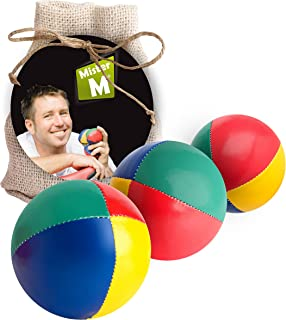 3 Juggling Balls (C E Tested), The Ultimate Juggling Set with an Online Video in a Burlap Bag - by Mister M