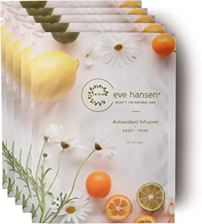 Eve Hansen Hydrating Face Mask | Cruelty-Free, Clean and Natural Sheet Masks to Retain Moisture, Increase Elasticity and Shrink Pore Size | 5X Facial Masks