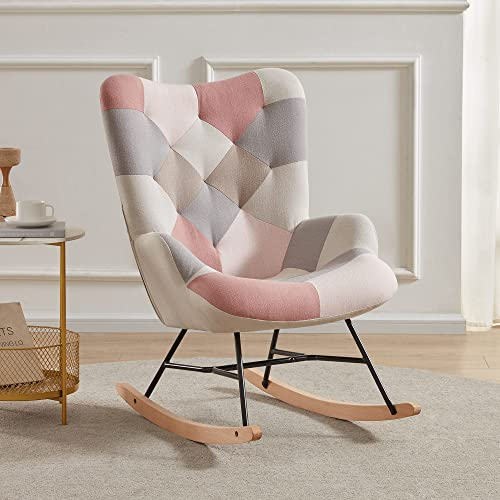 lowest BELLEZE Paramount Accent Chair sale Colorful Patchwork Linen Tufted Upholstered Rocking Chair with Solid new arrival Wood Legs for Living Room online sale