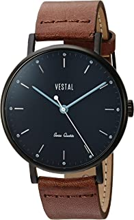 Vestal 'Sophisticate' Swiss Quartz Stainless Steel and Leather Dress Watch, Color:Brown (Model: SP42L07.BR)