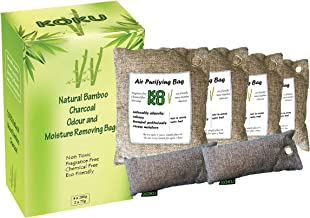 KoKu Bamboo Charcoal Air Purifying Bags Variety 6 Pack (4 x 200g) (2 x 75g) Natural Air Fresheners & Odor Eliminators for Home, Car, Cupboards, Fridge, Pets, Shoes