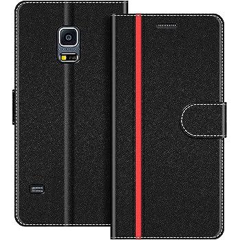 COODIO Handyhülle für Samsung Galaxy S5 Mini Handy Hülle, Samsung Galaxy S5 Mini Hülle Leder Handytasche für Samsung Galaxy S5 Mini Klapphülle Tasche, Schwarz/Rot