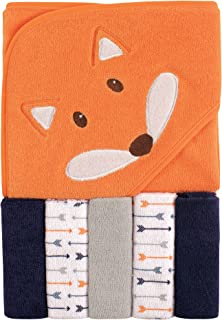 Luvable Friends Unisex Baby Hooded Towel with Five Washcloths, Boy Fox, One Size