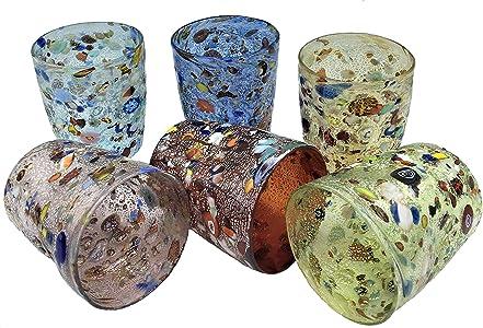 le gemme di veneziaJuego de 6 vasos de agua de colores surtidos Goto Veneciano con hoja de plata, cristal de Murano fabricado en Italia