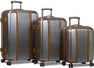 Dejuno Monroe 3-Piece Hardside Spinner TSA Combination Lock Luggage Set-Silver