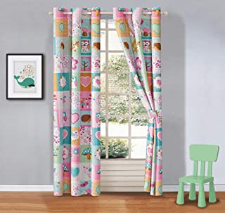 Kids Zone Home Linen 2 Panel Curtain Set with Grommet for Boys Girls Teens Bedroom Multicolor Set Owl Fox Flowers Hearts P...