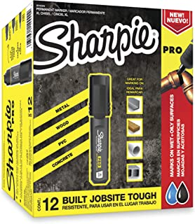 Sharpie Pro Permanent Marker, Medium, Chisel Tip, Black, 12-Count Marker (2018326)
