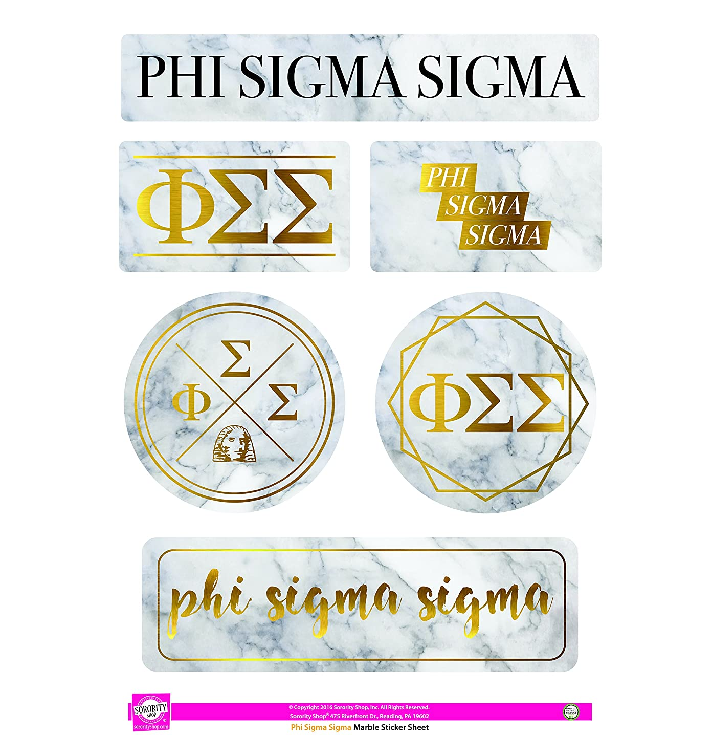 Phi Sigma Sigma - Sticker Sheet - Marble Theme
