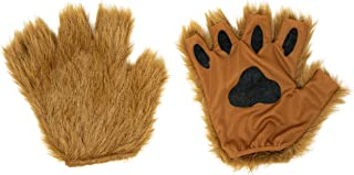 Brown Furry Cat, Dog, Bear, Wolf, Fox Paws Gloves Costume Accessory Set - Fits Adults and Kids