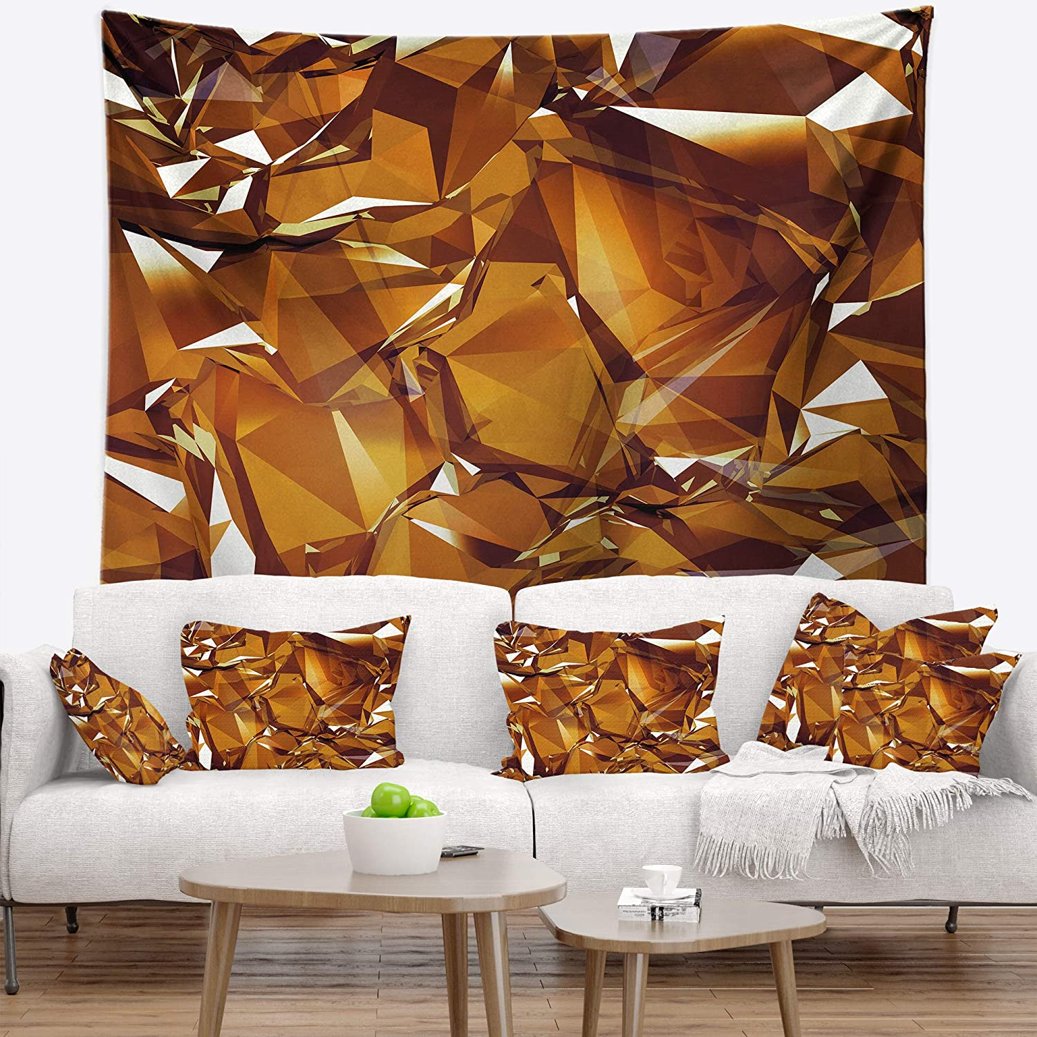 Designart TAP157413932 '3D gold Crystal Background' Abstract Tapestry Blanket Décor Wall Art for Home and Office, Medium  39 in. x 32 in.