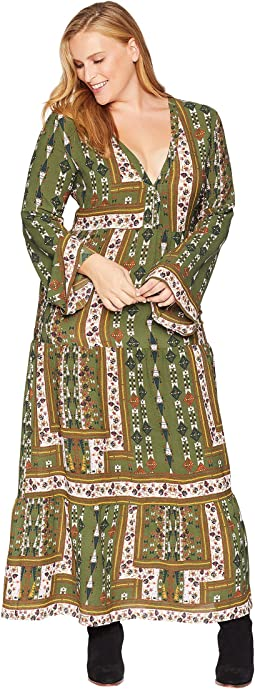 Plus Size Maren Long Sleeve Printed Maxi Dress