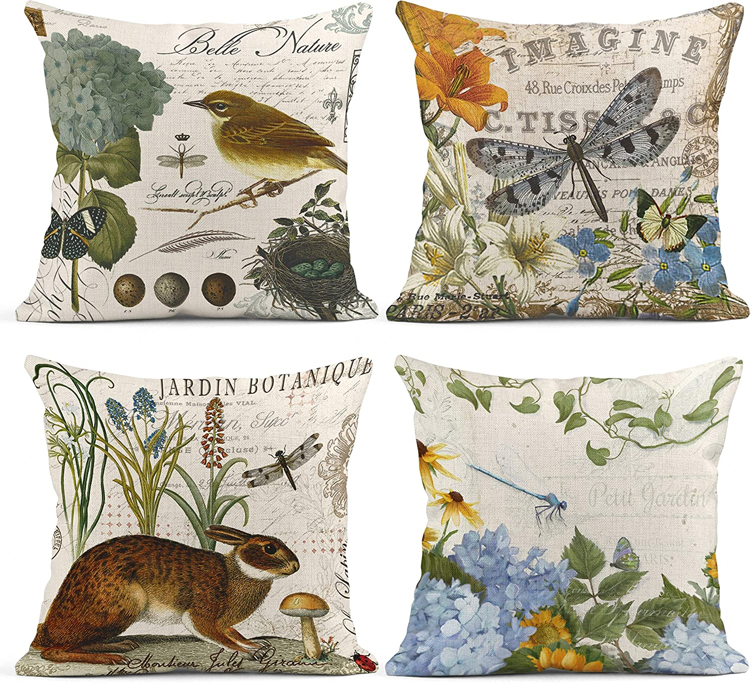 Emvency Set of 4 Throw Pillow Covers Cute Animal Rabbit Bird Dragonfly and Easter Egg Retro Style Spring Decorative Pillow Cases Home Decor Square 18x18 Inches Pillowcases