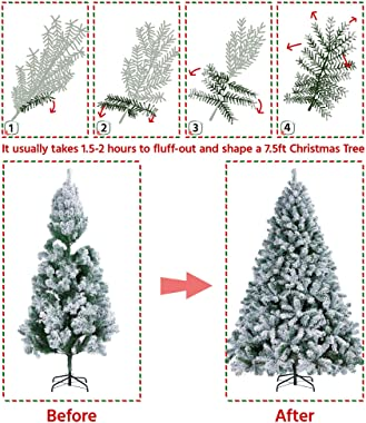 Yaheetech Pre-lit Artificial Christmas Tree with Incandescent Warm White Lights, Snow Flocked Full Prelighted Xmas Tree with