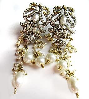 Chandelier EARRINGS .Pearl ,White Gold Plated Kundan, bridal Jewelry