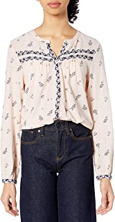 Lucky Brand Women's Long Sleeve Pink-Knit Printed Shirt