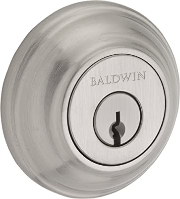 Baldwin SC.TRD.150.6L.DS.CKY.KD Traditional Round Single Cylinder Deadbolt, Satin Nickel