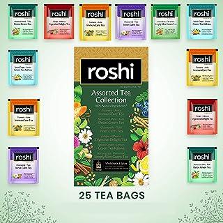 Roshi Assorted Green & Herbal Tea Collection | (25 Tea Bags) | Desi Kahwa, Immunity Boosting, Digestive, Relaxing, Detoxif...
