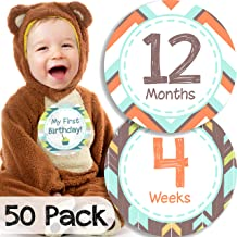50 Pack Monthly Baby Milestone Stickers for Boys - Easy to Use - Extra Large 5 Inch: Week, Month, Holiday Milestones Stickers