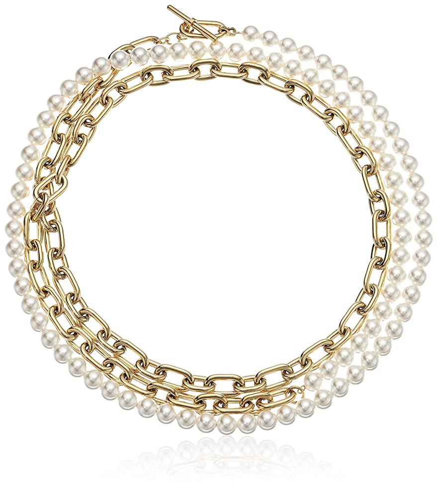 Michael Kors Womens Pearl Link Dual Strand To Choker Necklace