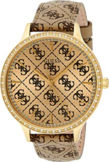 Guess W1229L2 Logo Band Strass Bezel Round Genuine Leather Analog Watch for Women - Brown