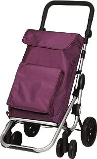 Playmarket GO Plus Large Capacity Folding Shopping Cart with Swivel Wheels, Plum