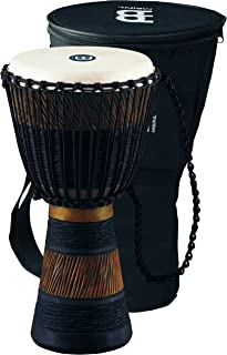 Meinl Percussion Djembe, African Style Finish Mahogany Made in CHINA-10 Medium Size Rope Tuned Goat Skin Head, 2-Year Warranty, Wood/Brown ADJ3-M+BAG