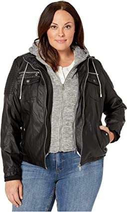 Plus Size Faux Leather Jacket with Detachable Sweater Hood