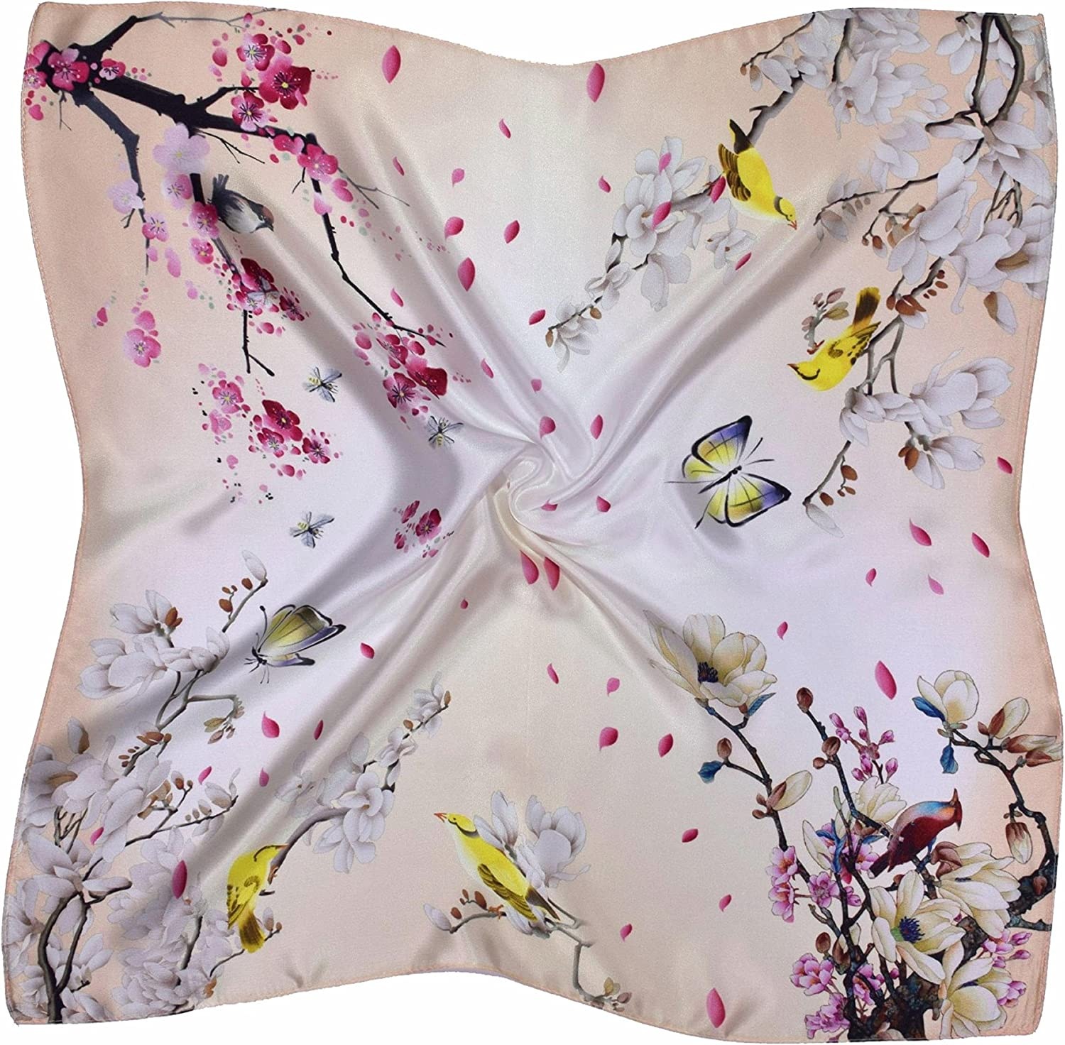 Yellow Red White Birds And Flowers Printed Thick Small Silk Square Scarf