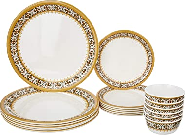 Amazon Brand - Solimo Majestico Melamine Dinnerware Set (18 pieces)