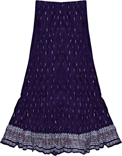 Pure Cotton Crinkled Crushed Block Printed Long Skirt