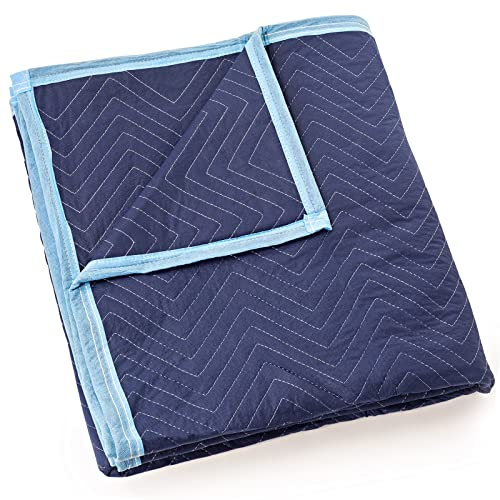 """Sure-Max Moving & Packing Blanket - Deluxe Pro - 80"""" x 72"""" (40 lb/dz weight) - Professional Quilted Shipping Furniture Pad Royal Blue - 1 Blanket"""