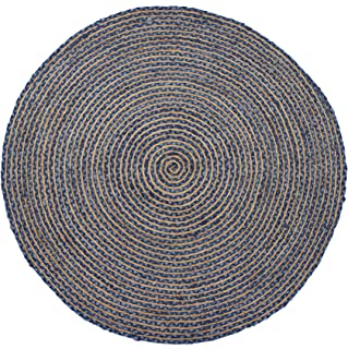 HF by LT Valencia Rug Collection Braided Round Area Rug, 5' Durable and Sustainable Chindi and Jute, Indigo, Five Colors Available