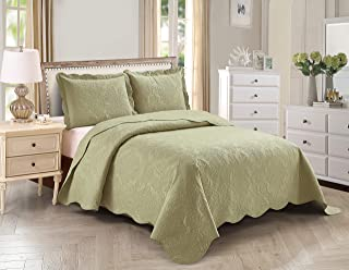 Home Collection 3pc King/Cal King Over Size Elegant Embossed Bedspread Set Light Weight Solid Sage Green New