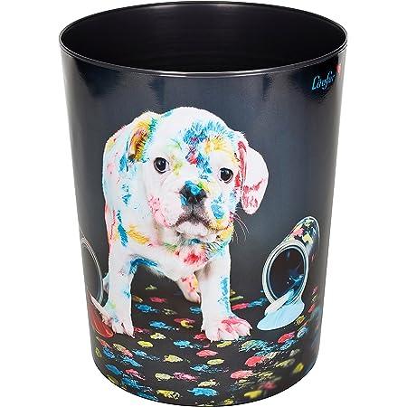Läufer 26663 Corbeille à papier ronde pour chambre d'enfant Motif chien multicolore 13 l Chien coloré. Chien coloré.