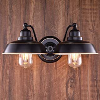 CO-Z 2 Light Rustic Vanity Light in Oil Rubbed Bronze Finish, Vintage Industrial Bathroom Wall Lighting Fixture, Metal Wal...