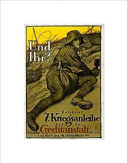 Wee Blue Coo WAR WWI AUSTRIA HUNGARY LOAN SOLDIER GRENADE BLACK FRAMED ART PRINT B12X5871