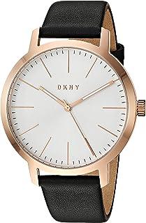 DKNY - Reloj de cuarzo para hombre The Modernist de acero inoxidable con correa de piel, negro, 20 (modelo: NY1600)