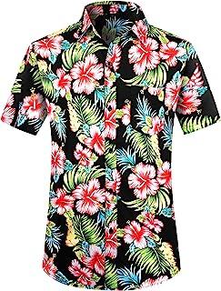 PEGENO Men's Flower Casual Button Down Short Sleeve Hawaiian Shirt
